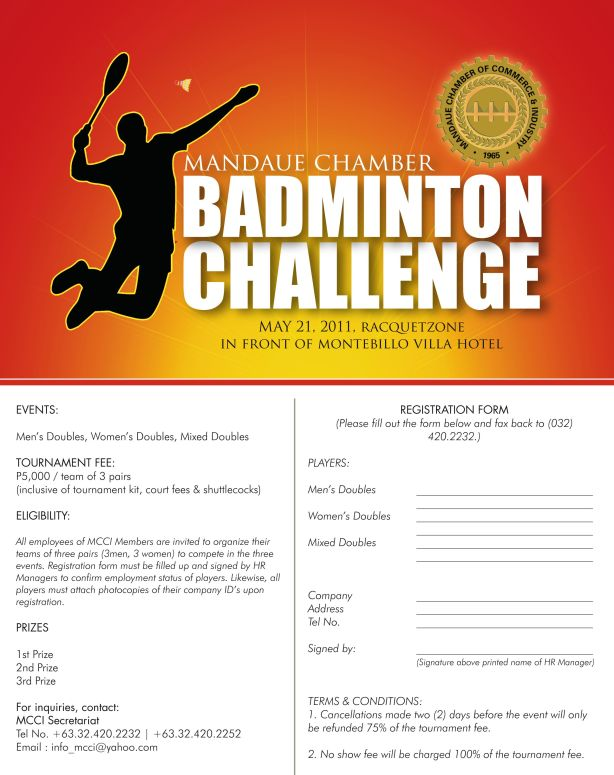JOIN MCCI Badminton Challenge on May 21,2011 at RACQUET ZONE BADMINTON