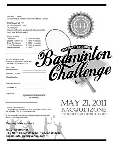 MCCI Badminton Challenge 2011 ENTRY FORM
