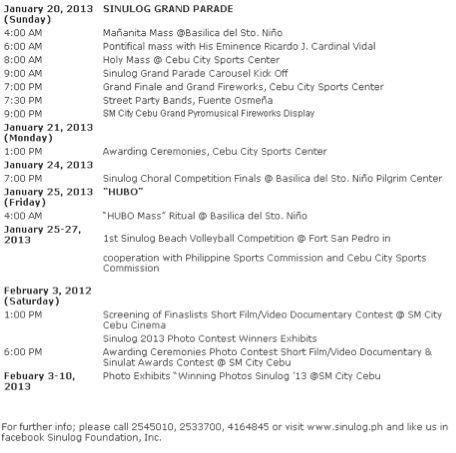 sinulog schedule