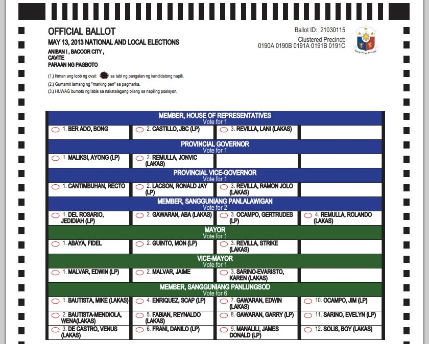 Sample ballot for 2016 election